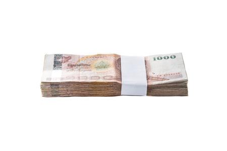Billets en baht thaïlandais sur fond blanc Banque d'images - 41240959