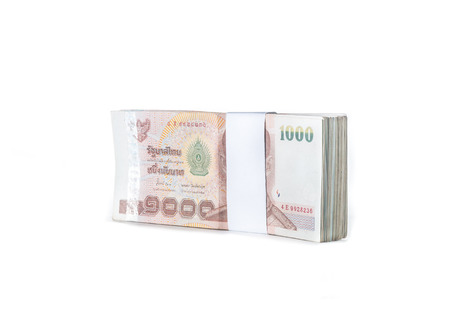 Thai baht banknotes on white background Stock Photo