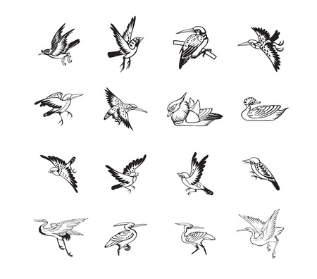 cranes: bird and duck chinese style black color vector