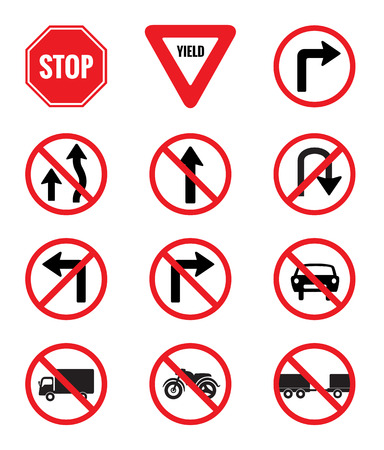 Traffic Signs Pack Set vector on white background Illustration