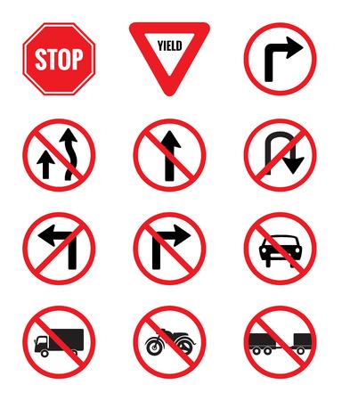 Znaki drogowe Pakiet Zestaw wektorowych na białym tle