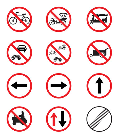 pushcart: Traffic Signs Pack Set vector on white background Illustration