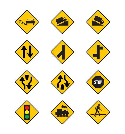 señales de tráfico amarillas, las señales de tráfico conjunto de vectores en el fondo blanco