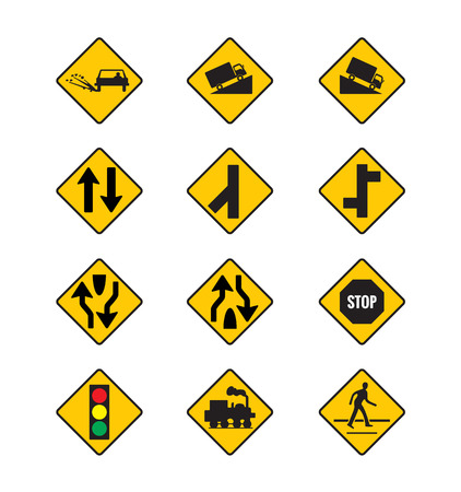 turn left sign: yellow road signs, traffic signs vector set on white background