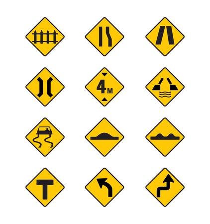 gele verkeersborden, verkeersborden vector set op een witte achtergrond Vector Illustratie