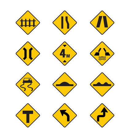 yellow road signs, traffic signs vector set on white background Vetores