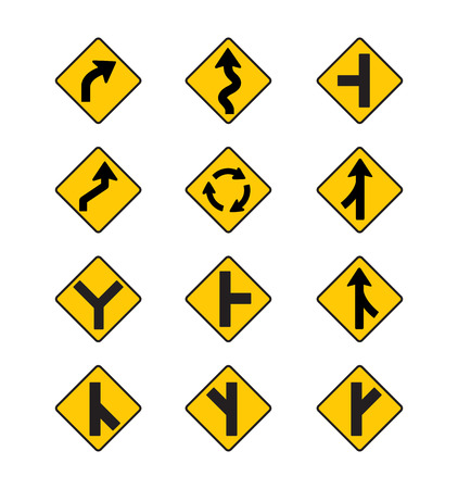 lanes: yellow road signs, traffic signs vector set on white background