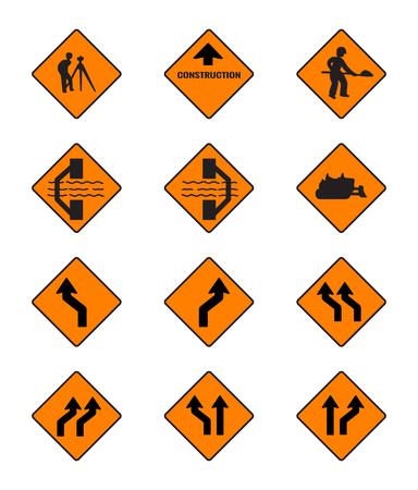slow lane: warning  signs, traffic signs vector set on white background Illustration