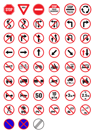 All Prohibition traffic signs vector icon 일러스트