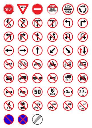 Tous les panneaux de signalisation d'interdiction vecteur icône Banque d'images - 51269734