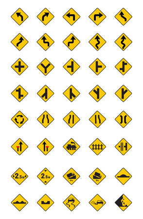 dangers: warning traffic signs, traffic signs vector set on white background