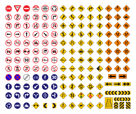 alle verkeersborden vector set icon