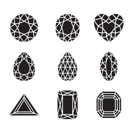 ruby: silhouette Diamonds and Ruby =Line Icons Set
