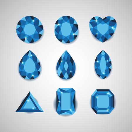 Blue Diamonds and Ruby Icons Set Illustration