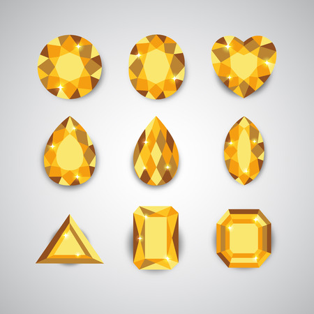 ruby: Yellow Diamonds and Ruby Icons Set Illustration