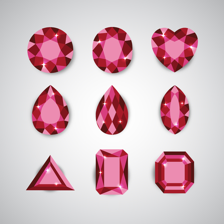 ruby: Red Diamonds and Ruby Icons Set