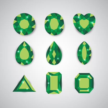 ruby: Green Diamonds and Ruby Icons Set Illustration