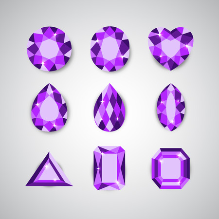 Violet Diamonds and Ruby Vector Icons Set