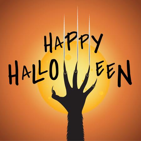 Happy Halloween avec loup-garou d'une main toucher la lune Banque d'images - 60530954