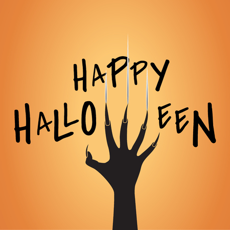 Happy Halloween with a hand's witch cut orenge background Stock Illustratie