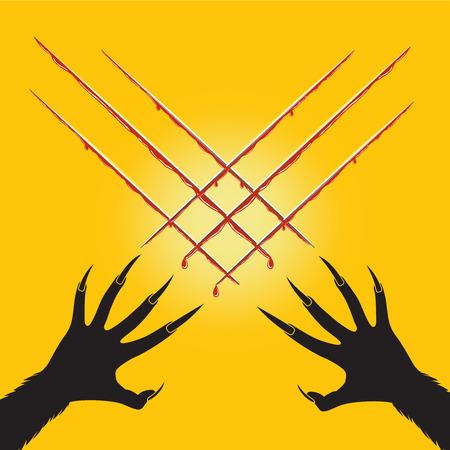 Halloween avec loup-garou coupe x forme et le sang de croix s 'mains Banque d'images - 60546573