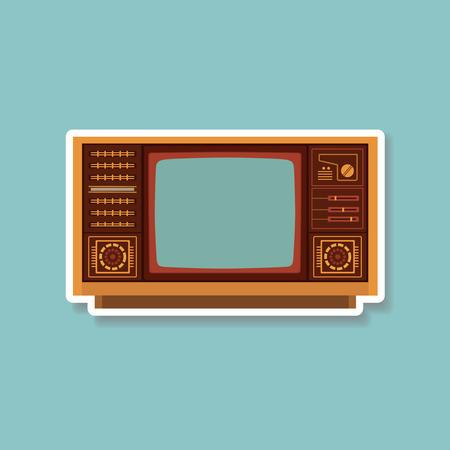 Télévision Vintage icône plat conception, illustration vectorielle Banque d'images - 62316193