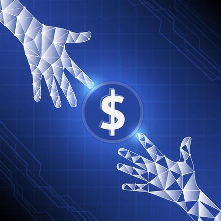 Les personnes qui envoient et reçoivent de l'argent sans fil avec leurs services bancaires numériques, Hands transferent de l'argent avec des applications de paiement bancaire. Vecteur de style de fond numérique Banque d'images - 62440472