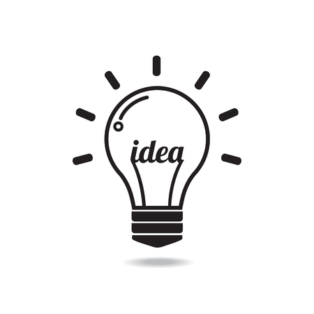 Vector light bulb icon with concept of idea.Illustration for print, web