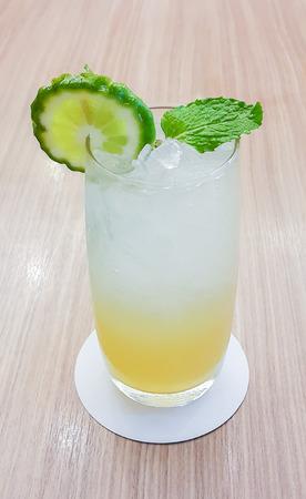 leech: ice leech lime  on wood table background, low aperture