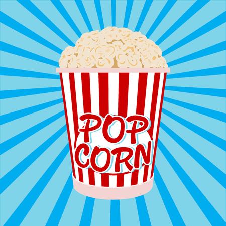 Bol de dessin animé plein de popcorn et de verre en papier Banque d'images - 72206184