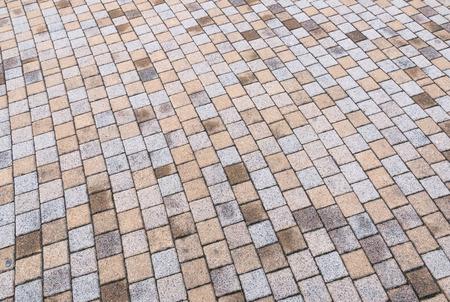 Bichromie jaune et gris Brique Pierre au sol pour Road Street. Trottoir, en Vintage Design Revêtement de sol motif carré texture de fond Banque d'images - 73675325