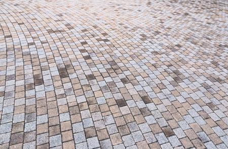 Bichromie jaune et gris Brique Pierre au sol pour Road Street. Trottoir, en Vintage Design Revêtement de sol motif carré texture de fond Banque d'images - 73675324