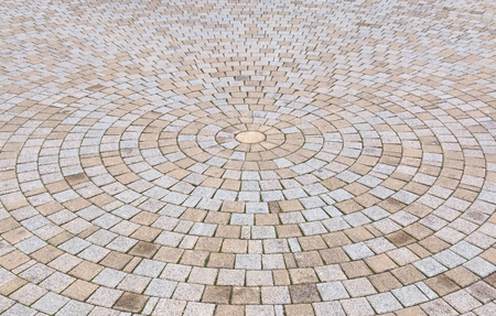 Duotone yellow and Gray Brick Stone on The Ground for Street Road. Sidewalk,in Vintage Design Flooring Square Pattern Texture Background