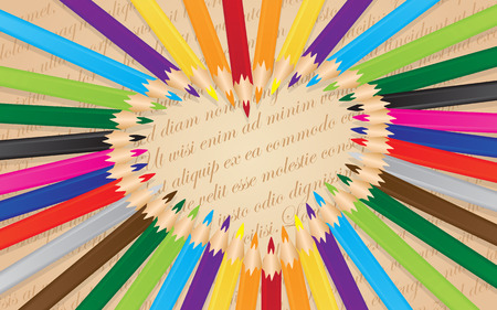 arranged: colorful pencils arranged in a heart background  Illustration