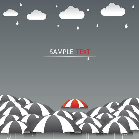傘赤と雨背景ベクトル