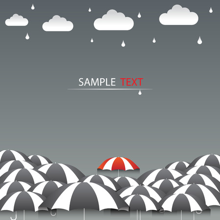 Umbrella red and rain background vector Vettoriali