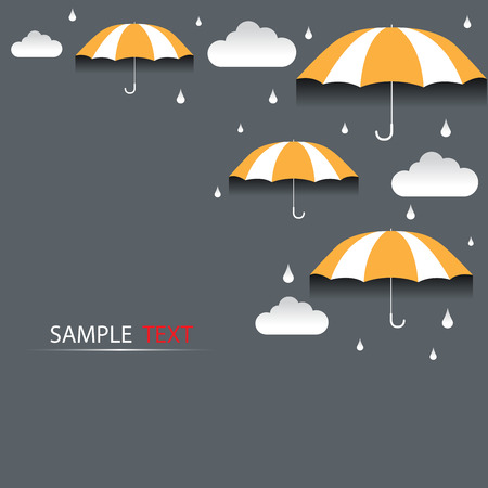 우산과 비 배경 벡터