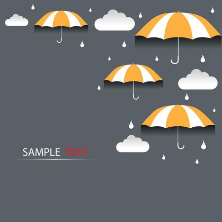 Umbrella and rain background vector Illustration