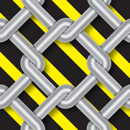 chainlink fence: steel wire weave, danger signs, background vector