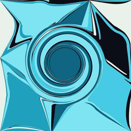 curl whirlpool: blue abstract wave, embossed shadow eddy, design element background vector