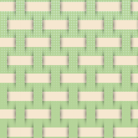 woven: braided weave pattern, green background vector Illustration