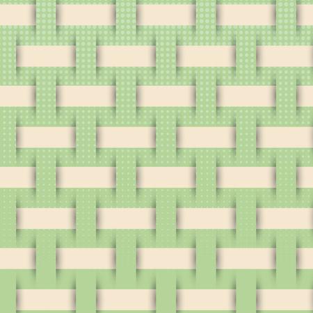 hamper: braided weave pattern, green background vector Illustration