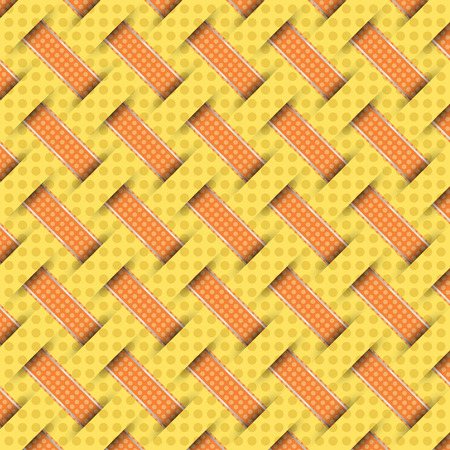 braided: braided weave pattern, yellow background vector