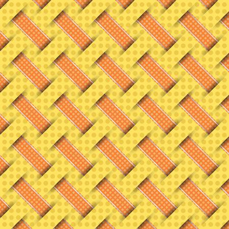 hamper: braided weave pattern, yellow background vector
