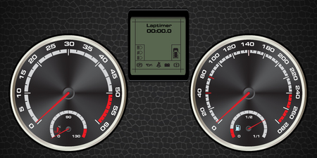 leather background: abstract car speedometer with display digital and textured leather, background vector Illustration