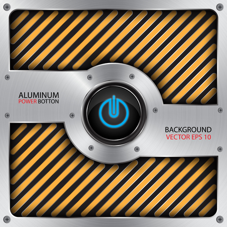 aluminum: aluminum power button,technology background vector Illustration
