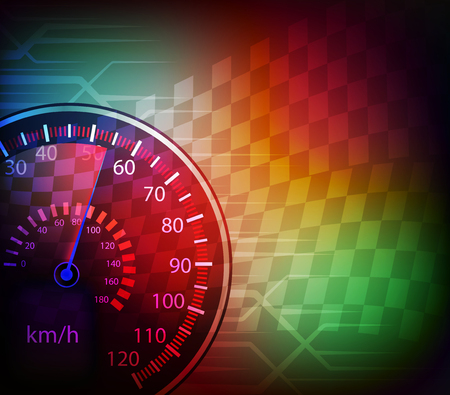 checker flag: car speedometer and checkered flag background vector