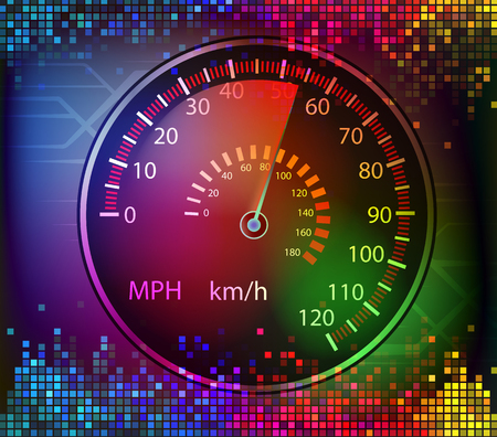 volume glow light: colorful digital sound and car speedometer background vector Illustration