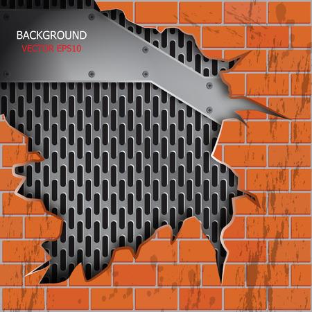 cracks: vector brick wall cracks, metallic grill background for text