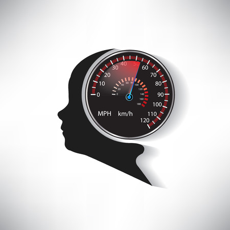 car speed: The speed of the human brain compared to car speedometer vector